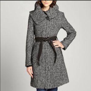 Cole Haan Tweed Wool Blend Coat Size 8